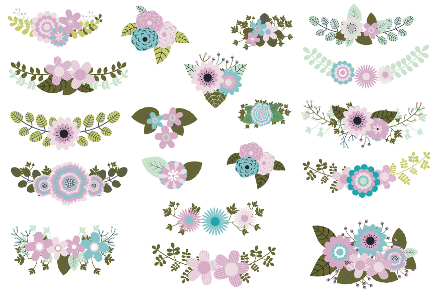 Mint violet green wedding flowers clipart, Rustic floral elements example image 1