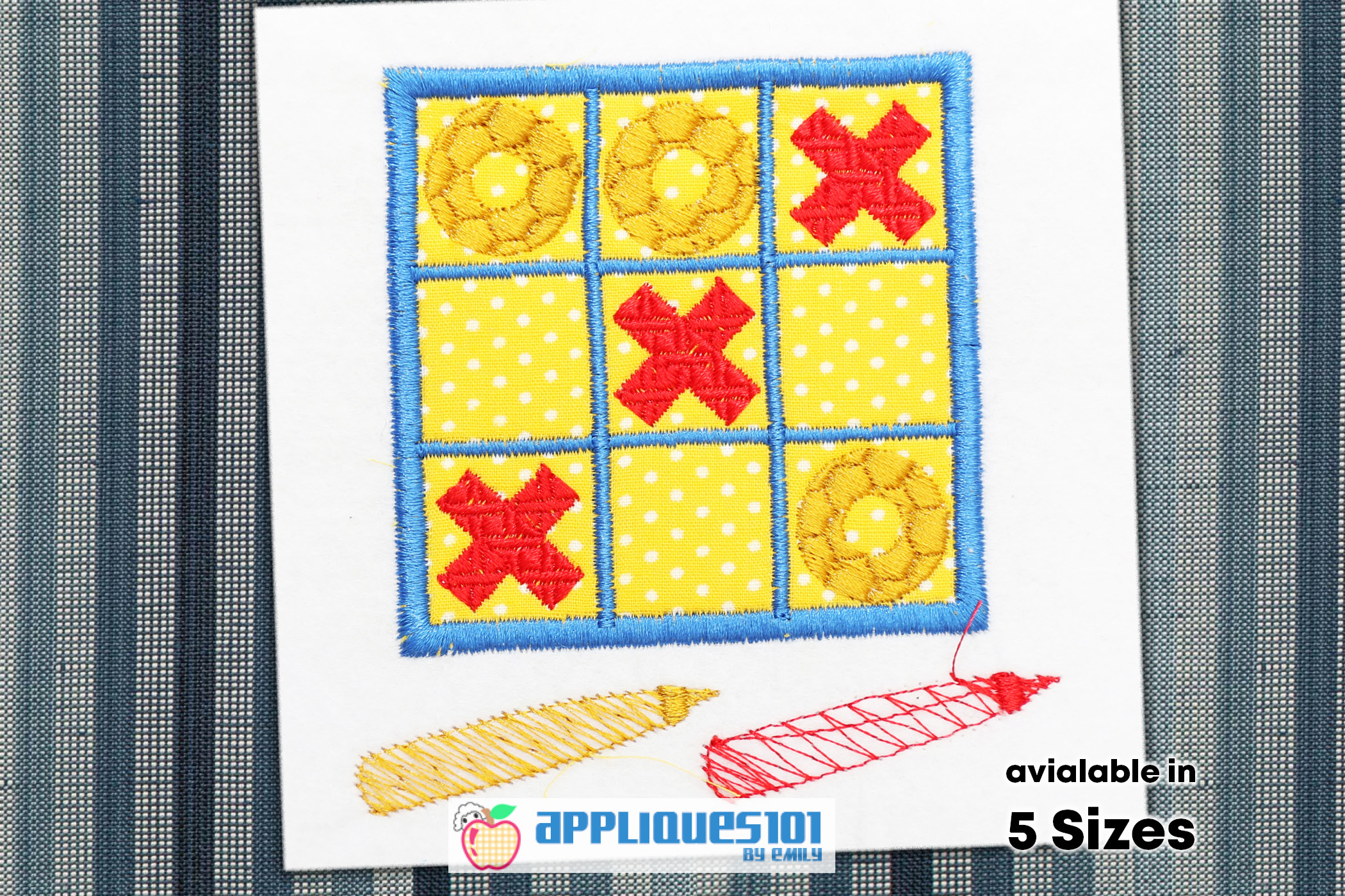 Tic Tac Toe Embroidery Applique Design - Games example image 1