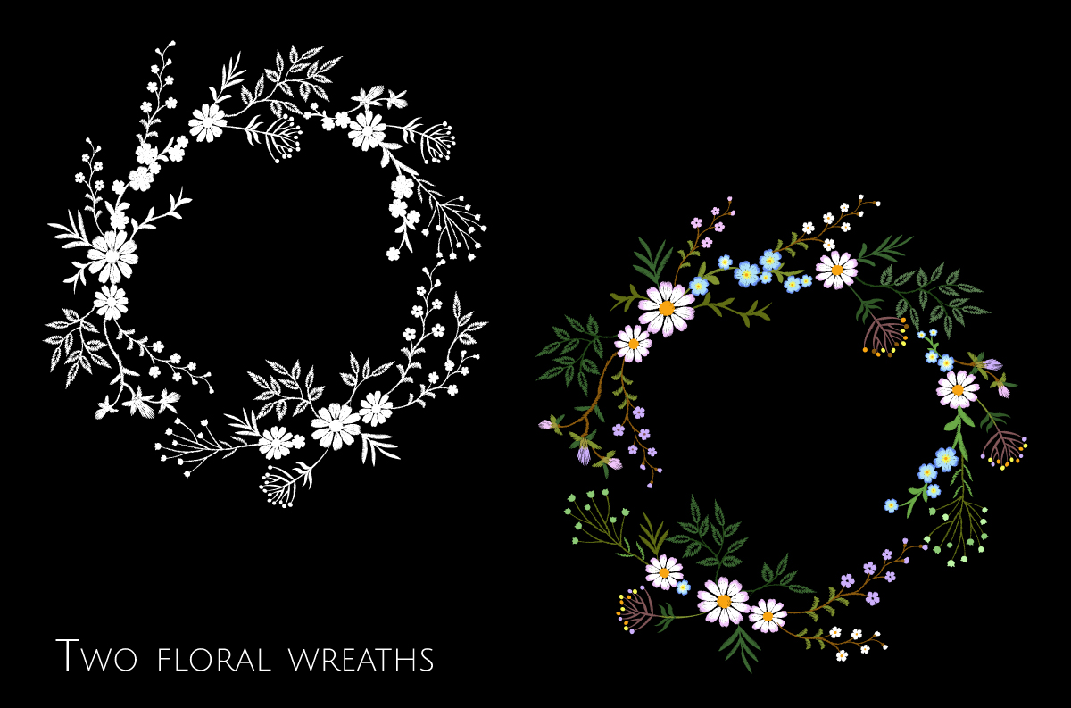 Tiny Flowers Vector Embroidery Print example image 3