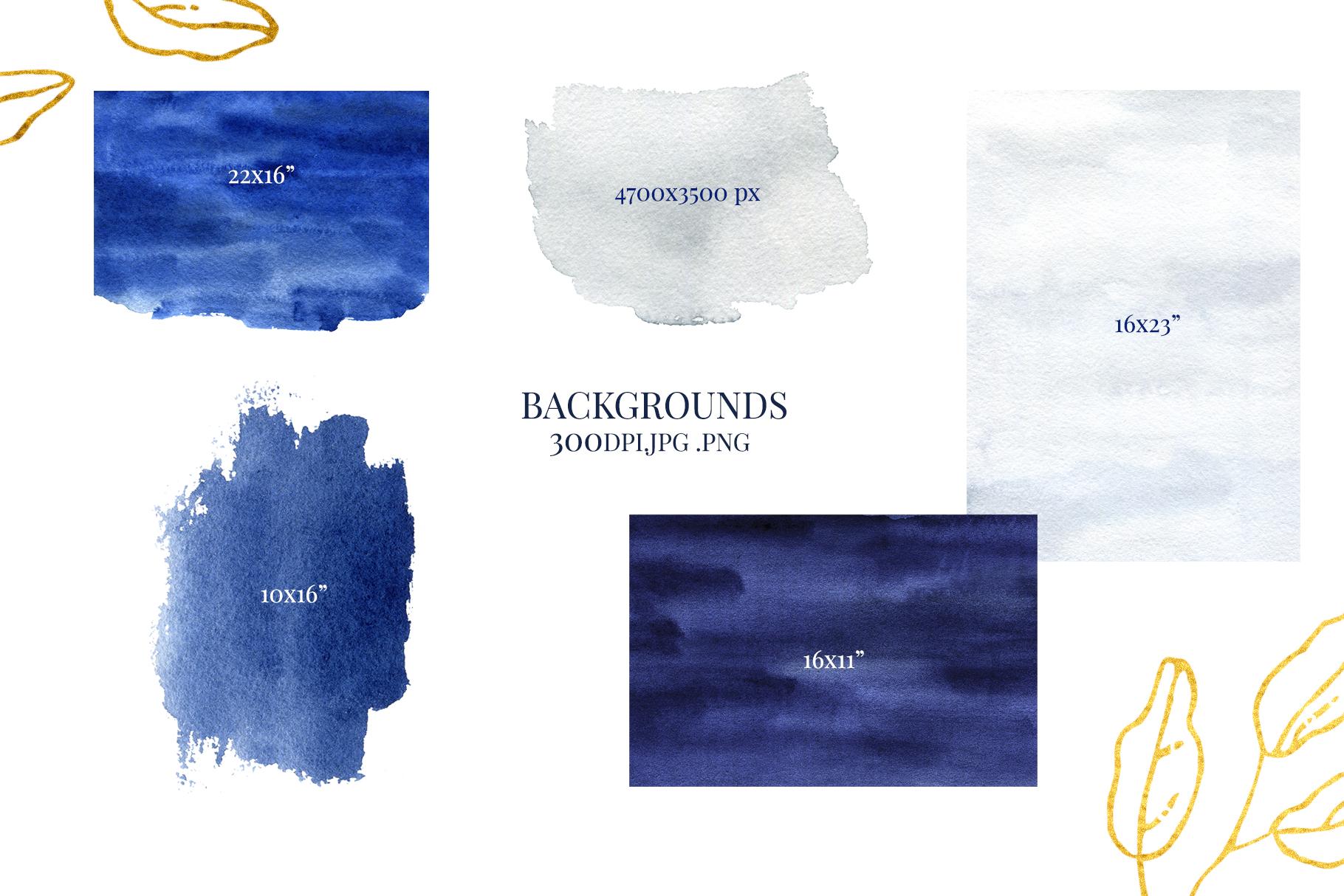 Deep Blue Alphabet Watercolor Design Kit example image 13