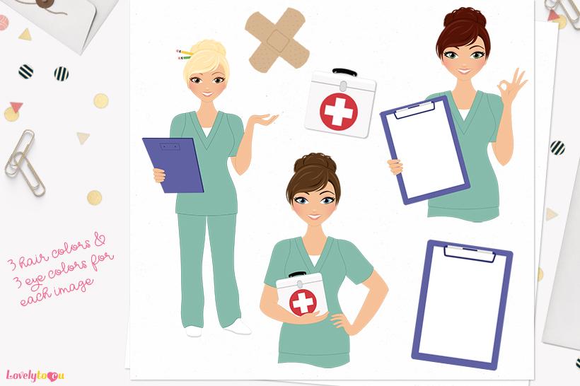Nurse woman character clip art L391 Juliet example image 1