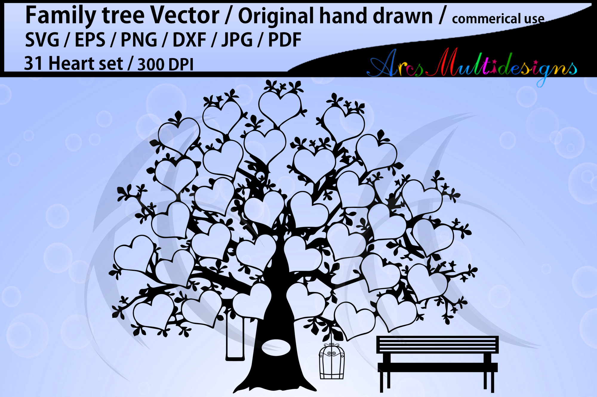 31 hearts family tree vector / SVG, EPS, Dxf, Png, Pdf, Jpg example image 1