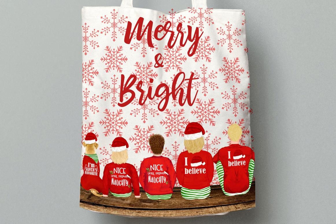 Christmas family clipart, Santa hat, Santa matching pajamas example image 4