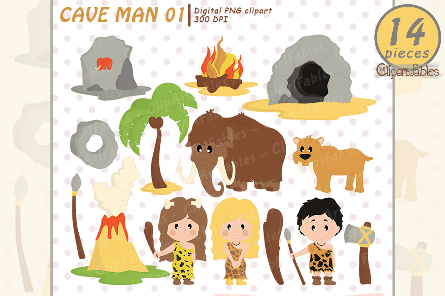 Ice age, Caveman clipart, Stone age - instant download example image 1