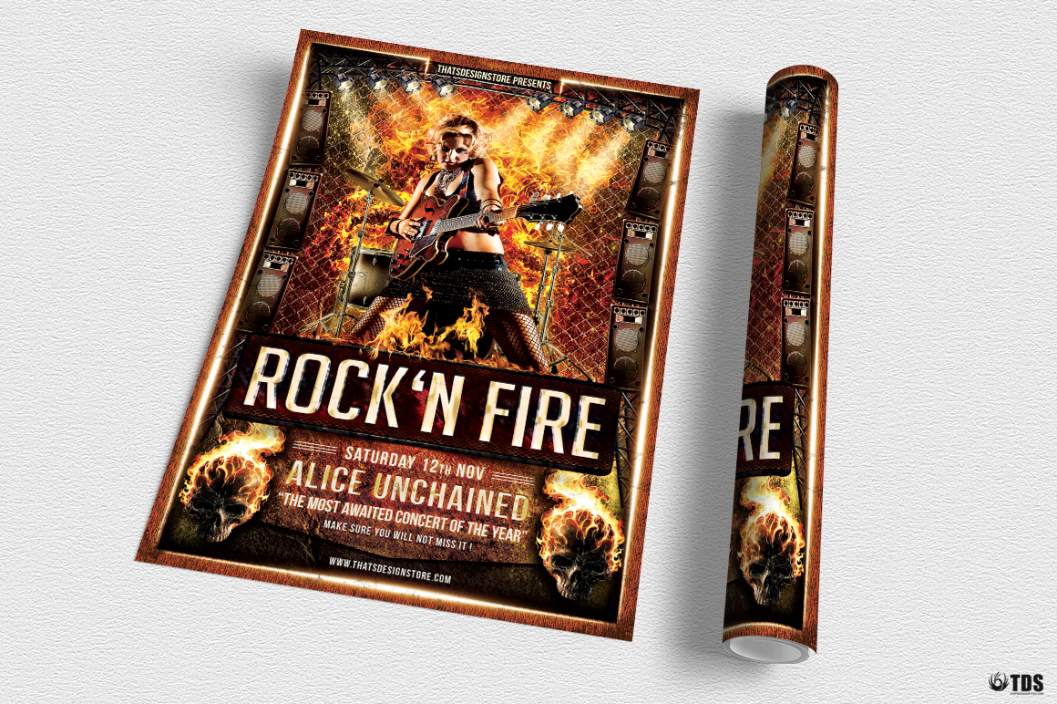 Rock'N Fire Live Flyer Template example image 4