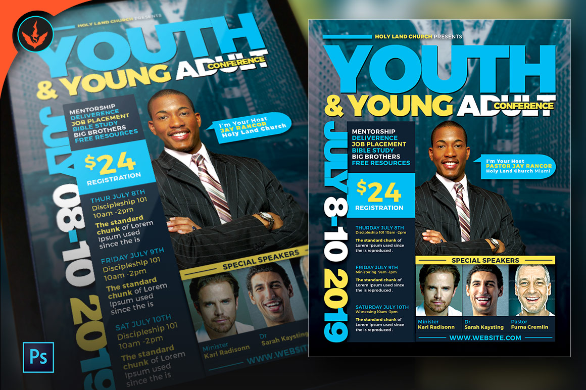 Youth & Young Adult Conference Flyer Template example image 5