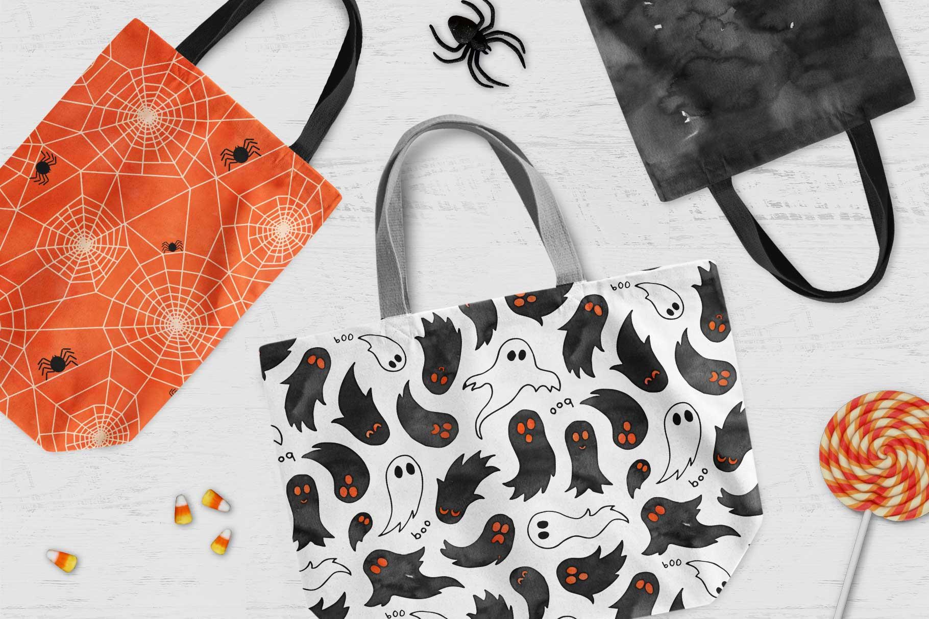 6 Huge Seamless Watercolour Halloween Textures example image 4