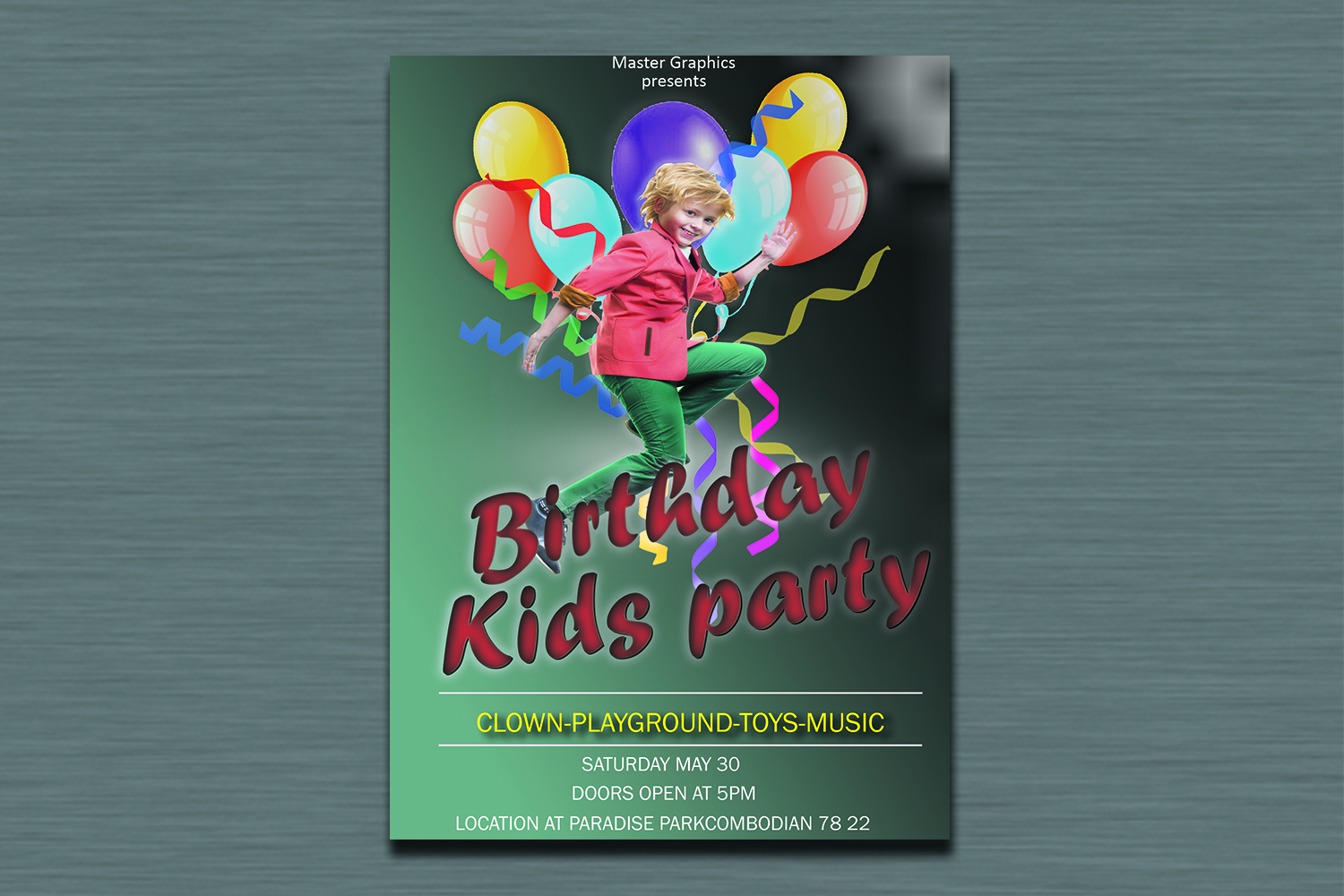 Birthday invitation card in 3 colours example image 2