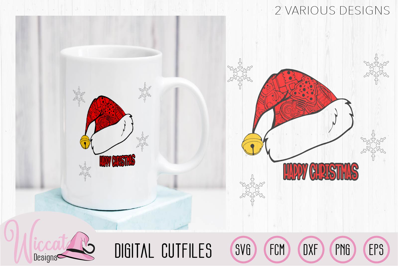 Doodle Christmas hat svg, Happy and Merry Christmas example image 3