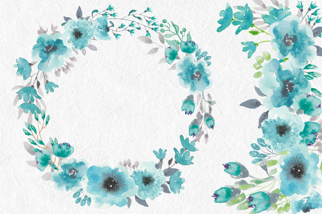 Watercolor clip art bundle: turquoise flowers example image 3