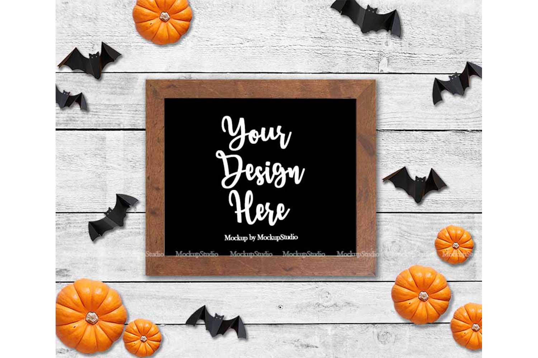 Fall Frame Mockup Bundle, Halloween Wood Sign Mock Up Set example image 4