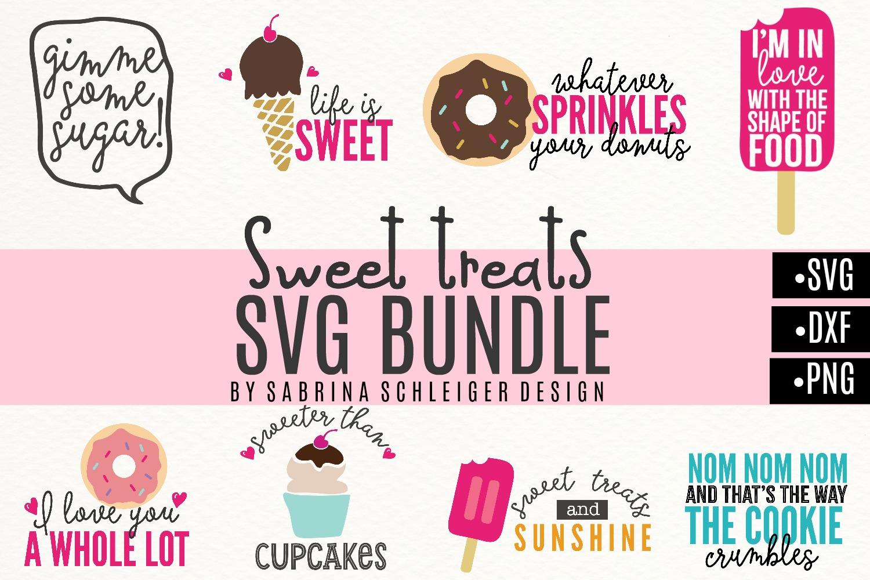 Sweet Treats SVG Bundle- Donut Cupcake Icecream Designs example image 2