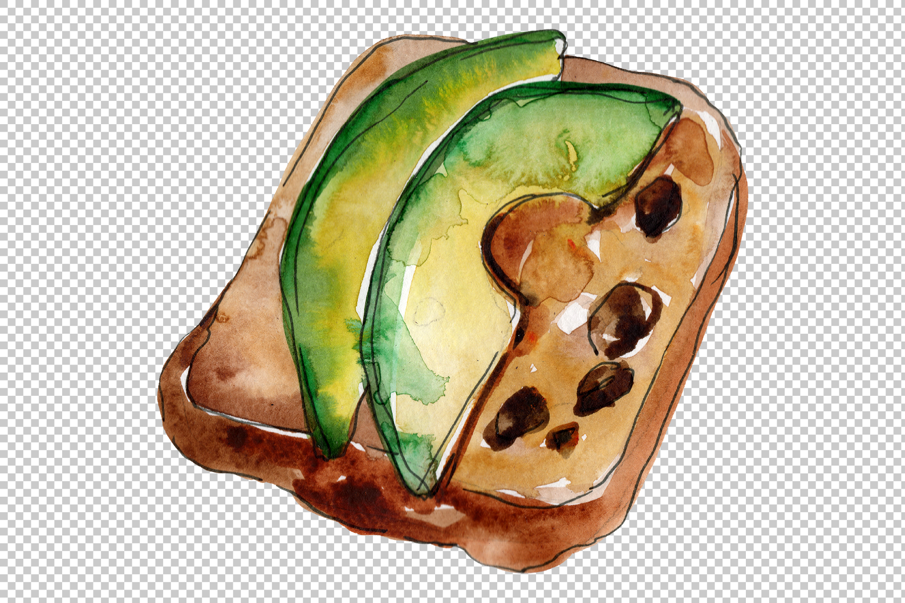 Sandwich sausage Watercolor png example image 7