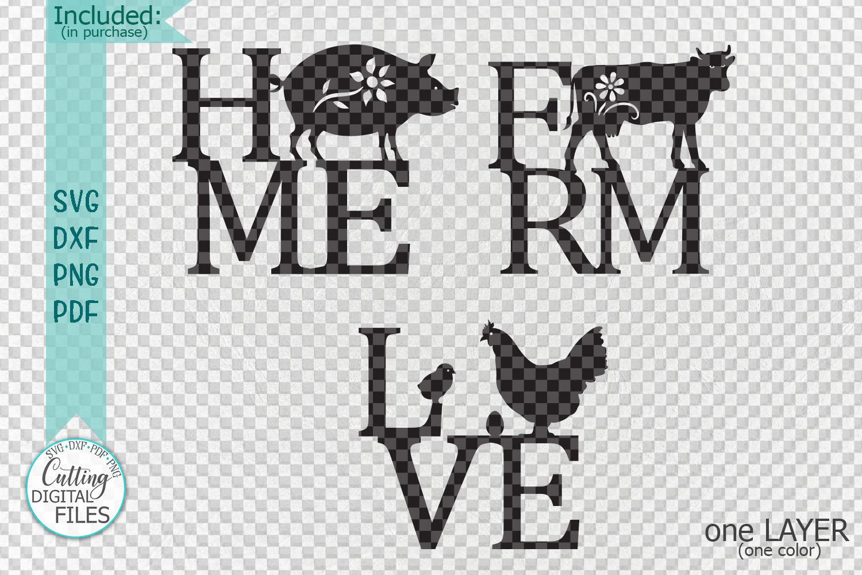 Home Love Farm sign bundle farmhouse style laser cut out svg example image 2