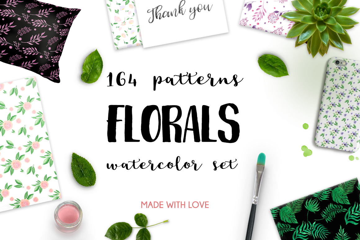 164 Watercolor FLORALS patterns example image 1
