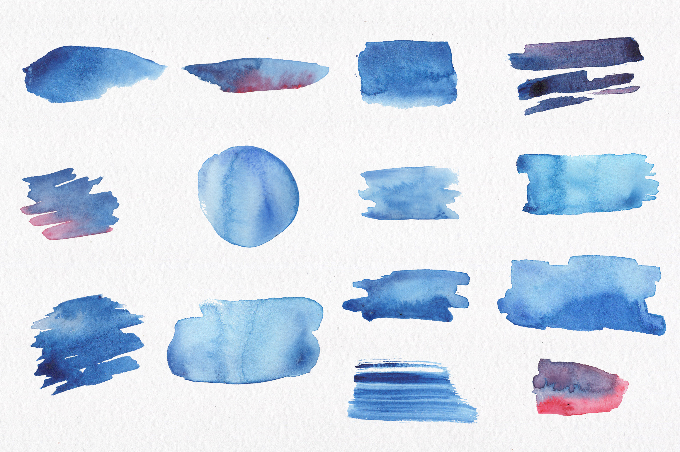 Blue watercolour seamless patterns set. example image 7