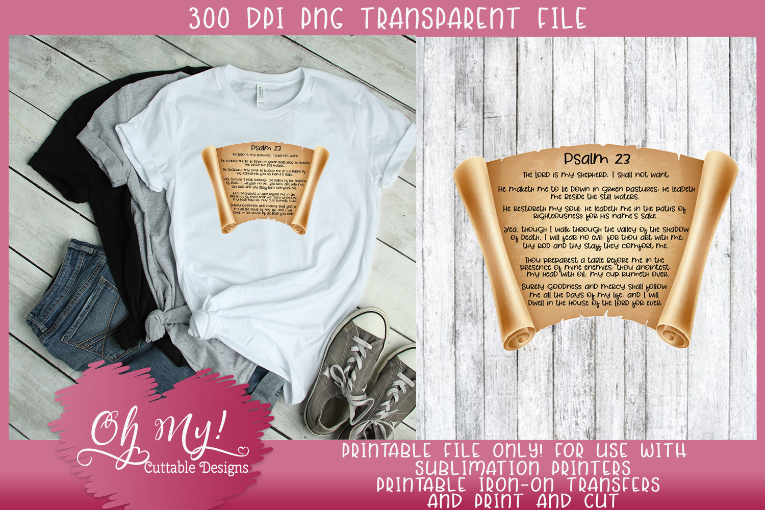 Religious Psalm 23 PNG Print/Cut Sublimation Printable example image 2