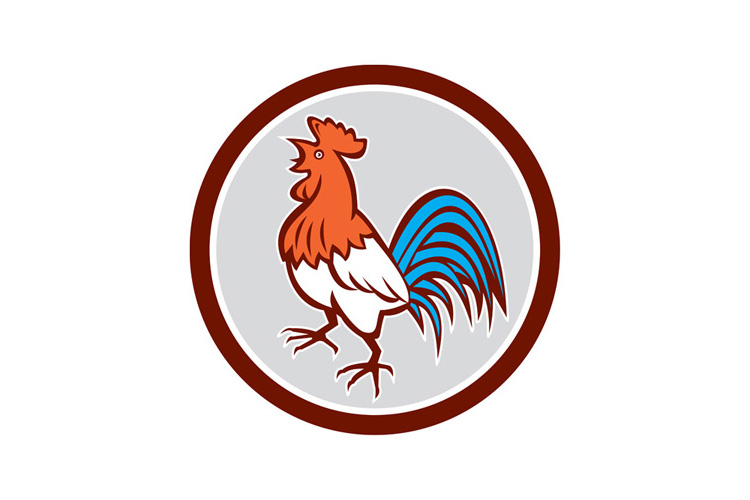 Chicken Rooster Crowing Looking Up Circle Retro example image 1
