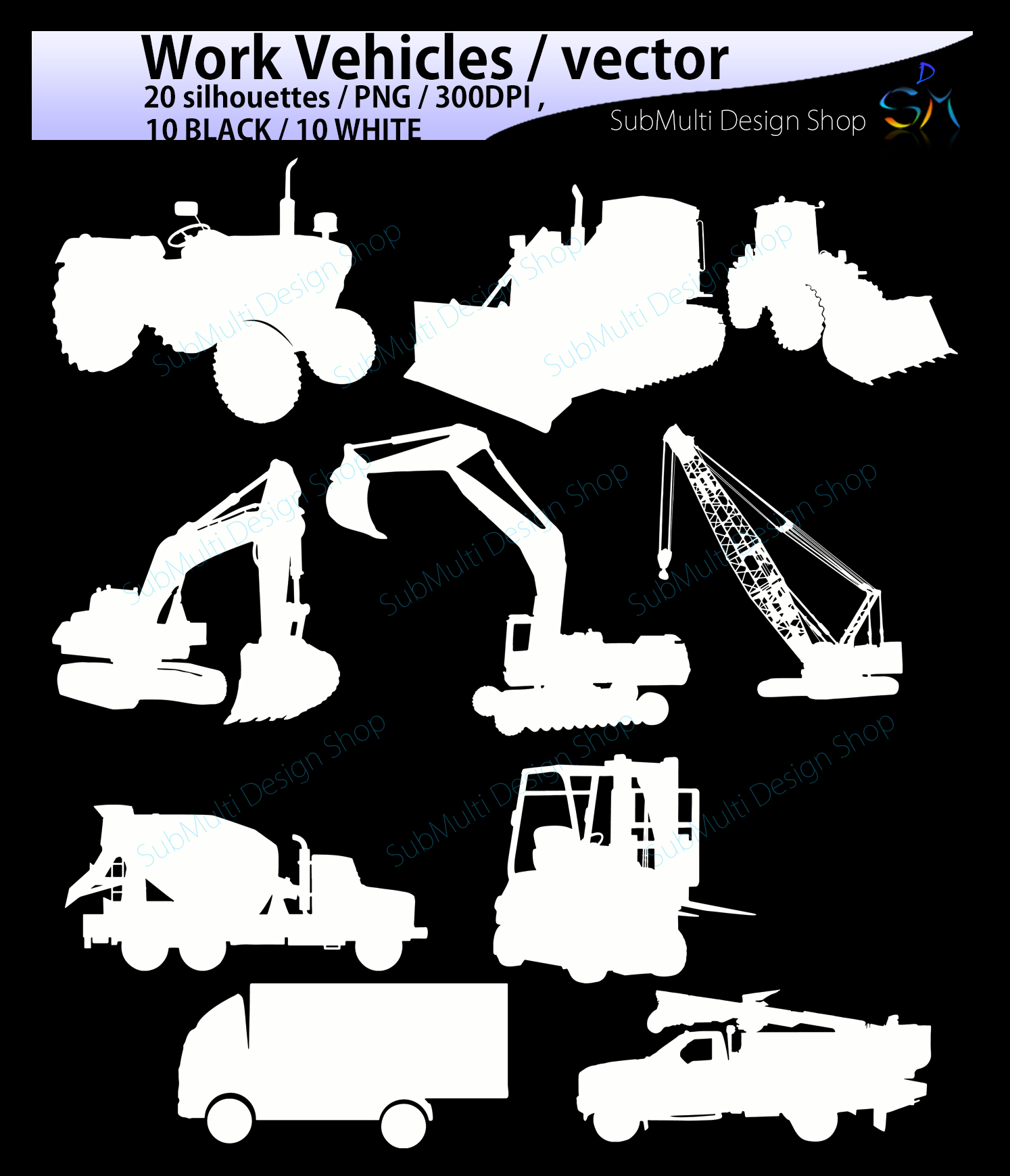 work vehicle / work vehicles silhouette / SVG file / Construction Machines Silhouettes / printable vehicle silhouette / vector EPS example image 3