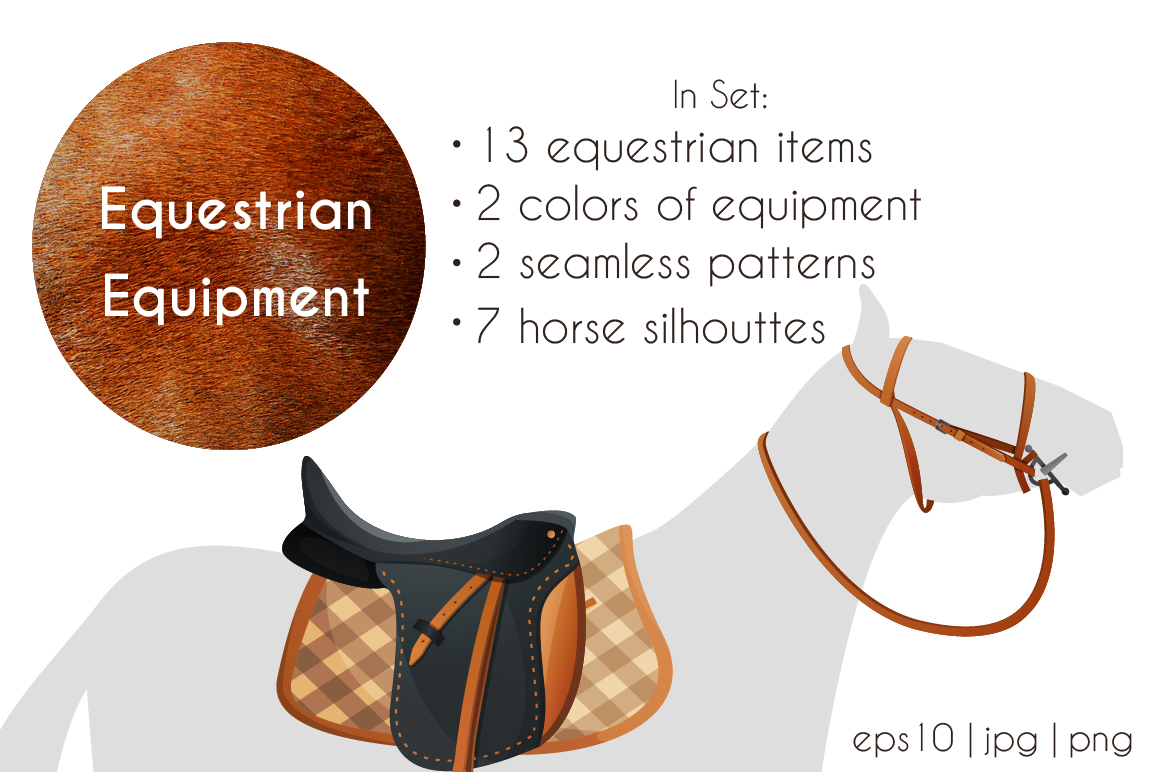 Vector equestrian horse equipment 13 items in 2 color + bonus horse silhouettes and patterns example image 2