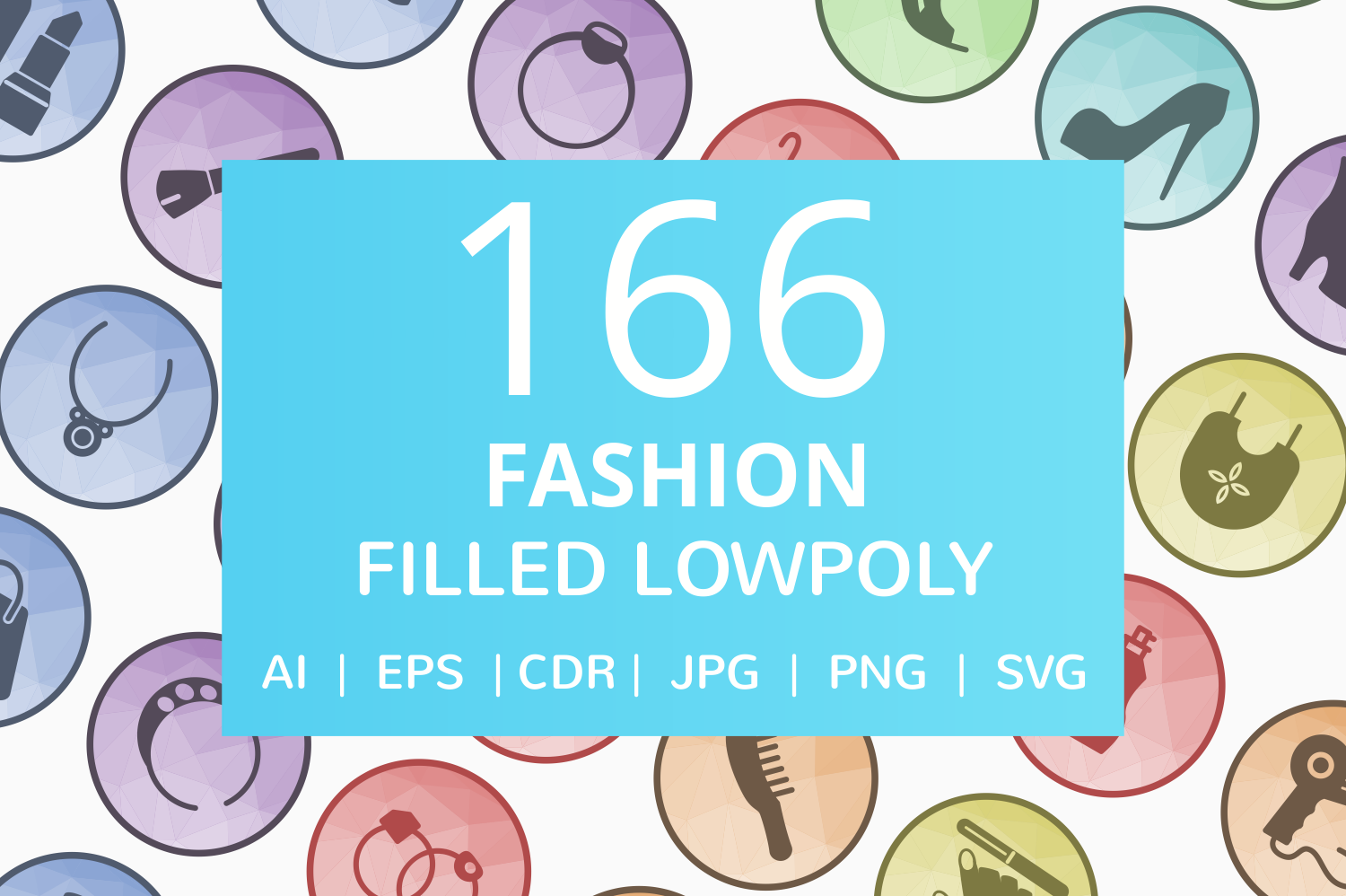 166 Fashion Filled Low Poly Icons example image 1