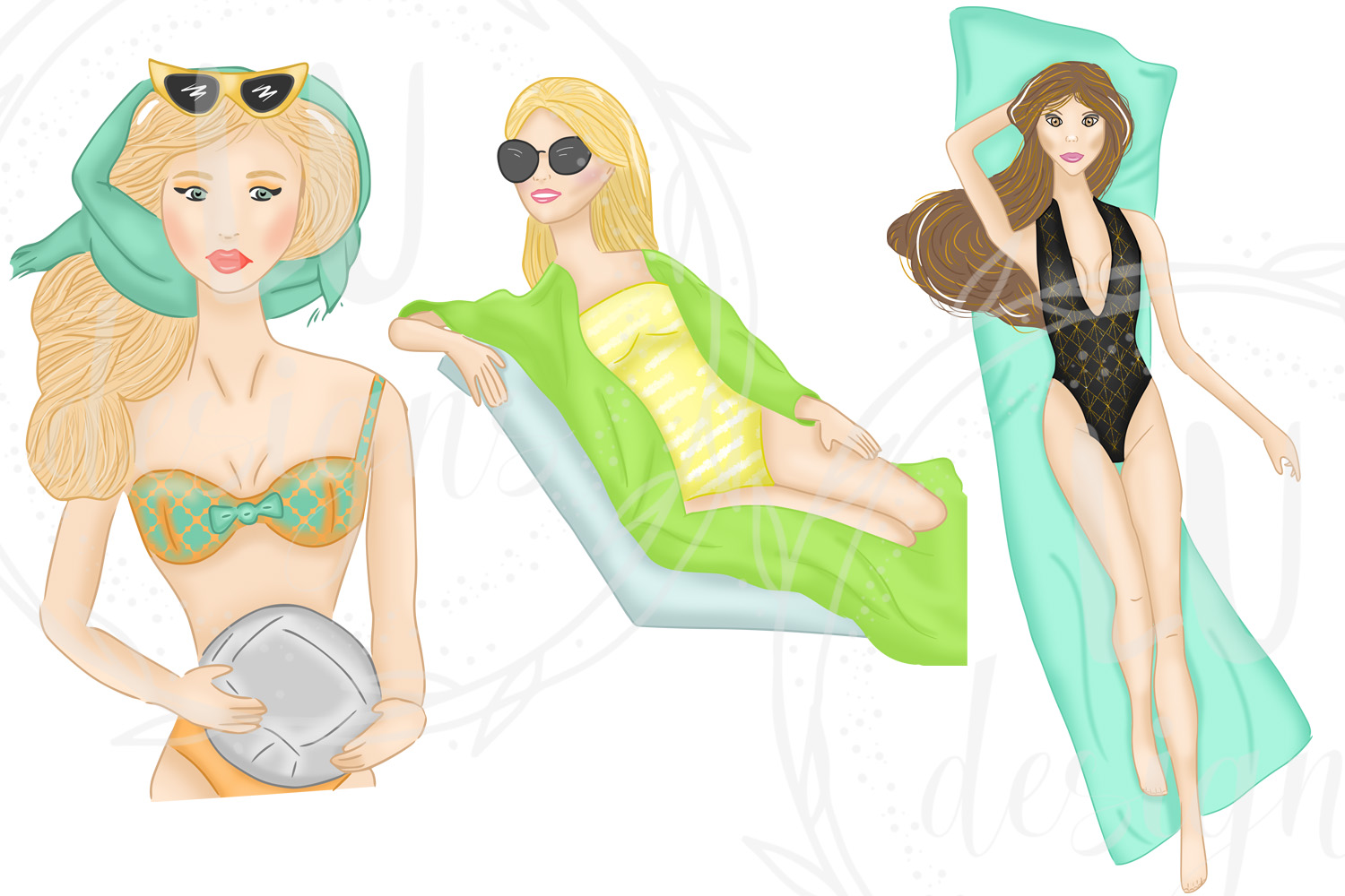 Summer Girls Clipart, Beach Clipart, Girl Illustrations example image 5