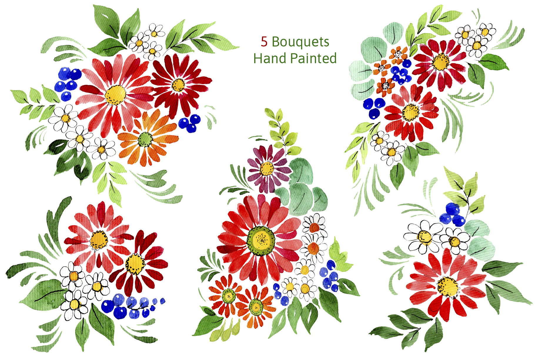Bouquet of flowers Frederick red watercolor PNG example image 2
