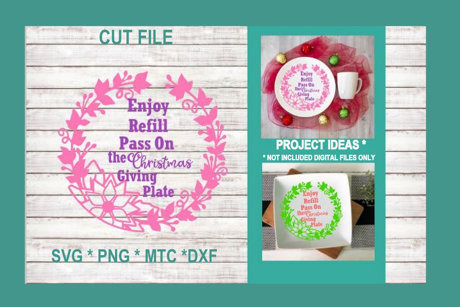 SVG Cut File Christmas Giving Plate Design #03 example image 1