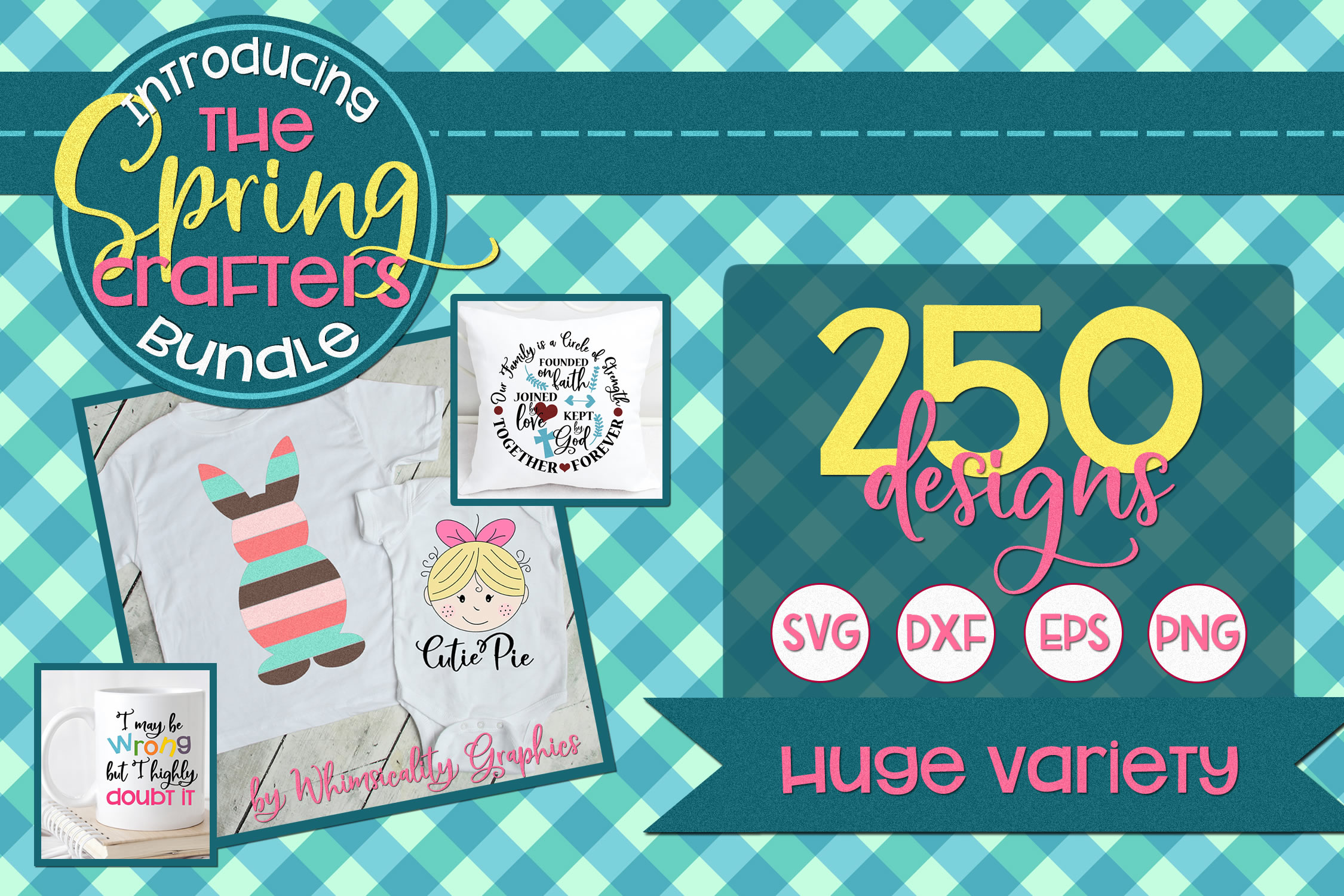 Spring Crafters Mega Bundle 250 Designs SVG DXF EPS PNG example image 1