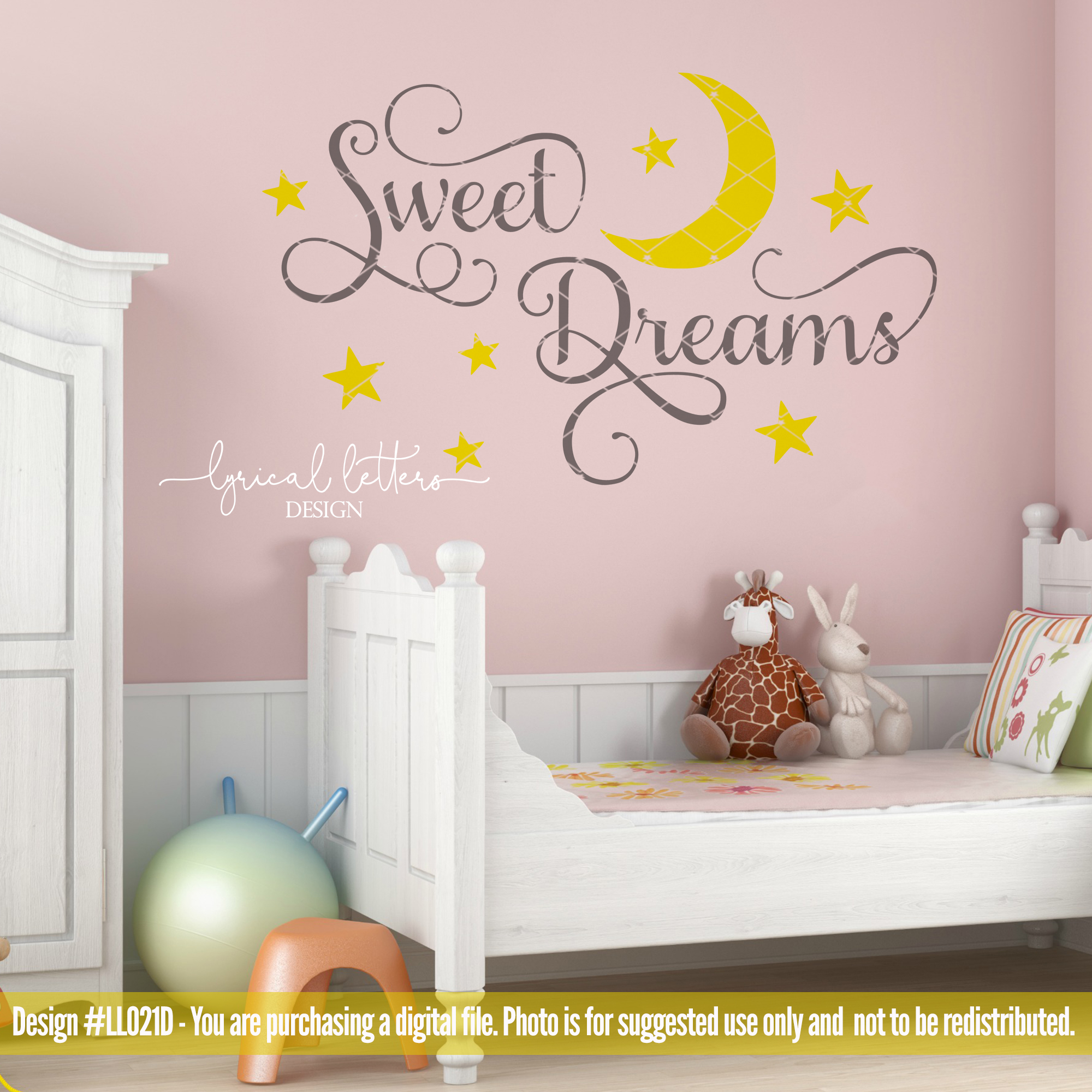 Sweet Dreams with Moon and Stars SVG Cut File LL021D example image 2