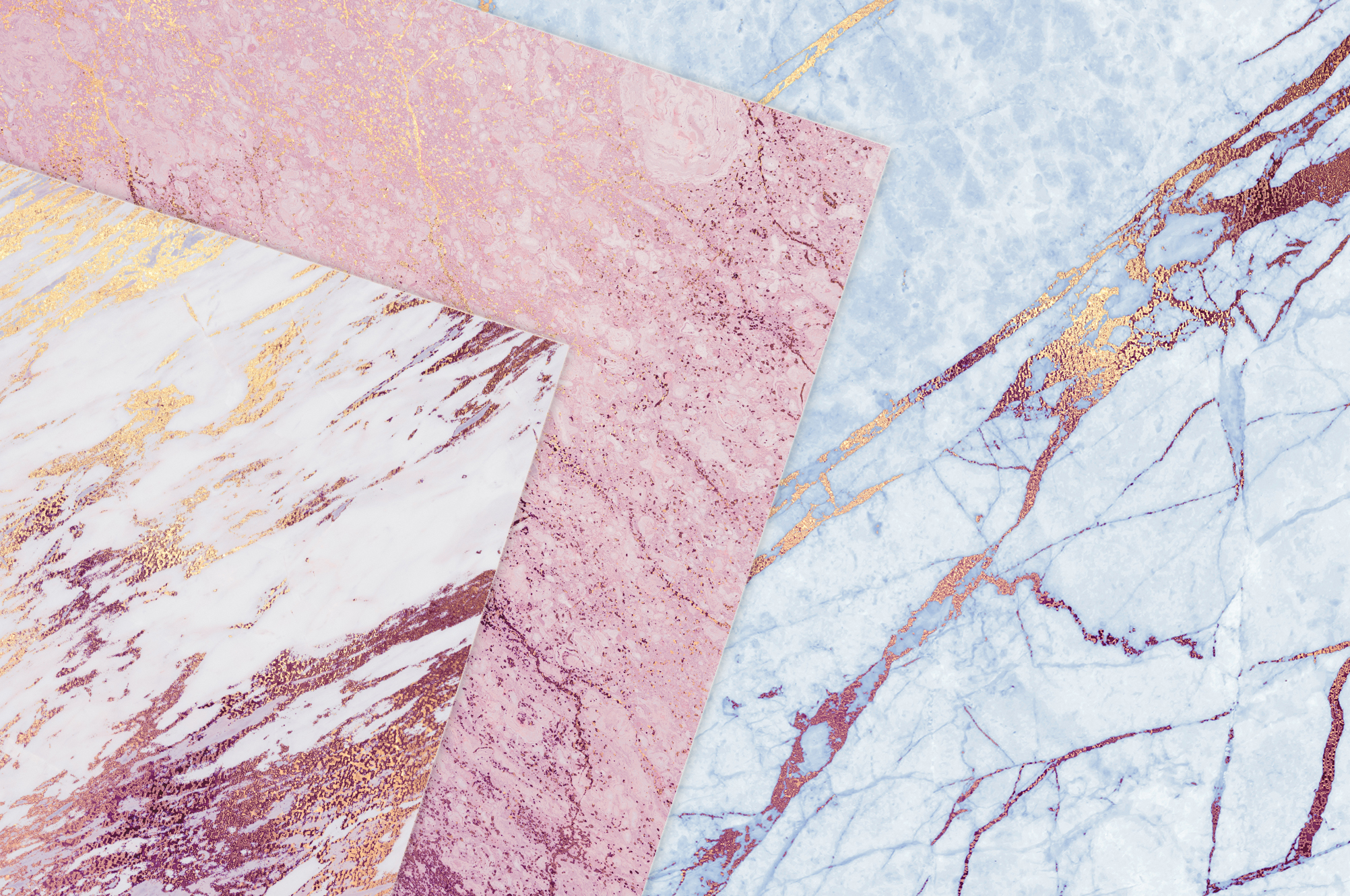Rose and Blue Gold Marble Textures example image 2