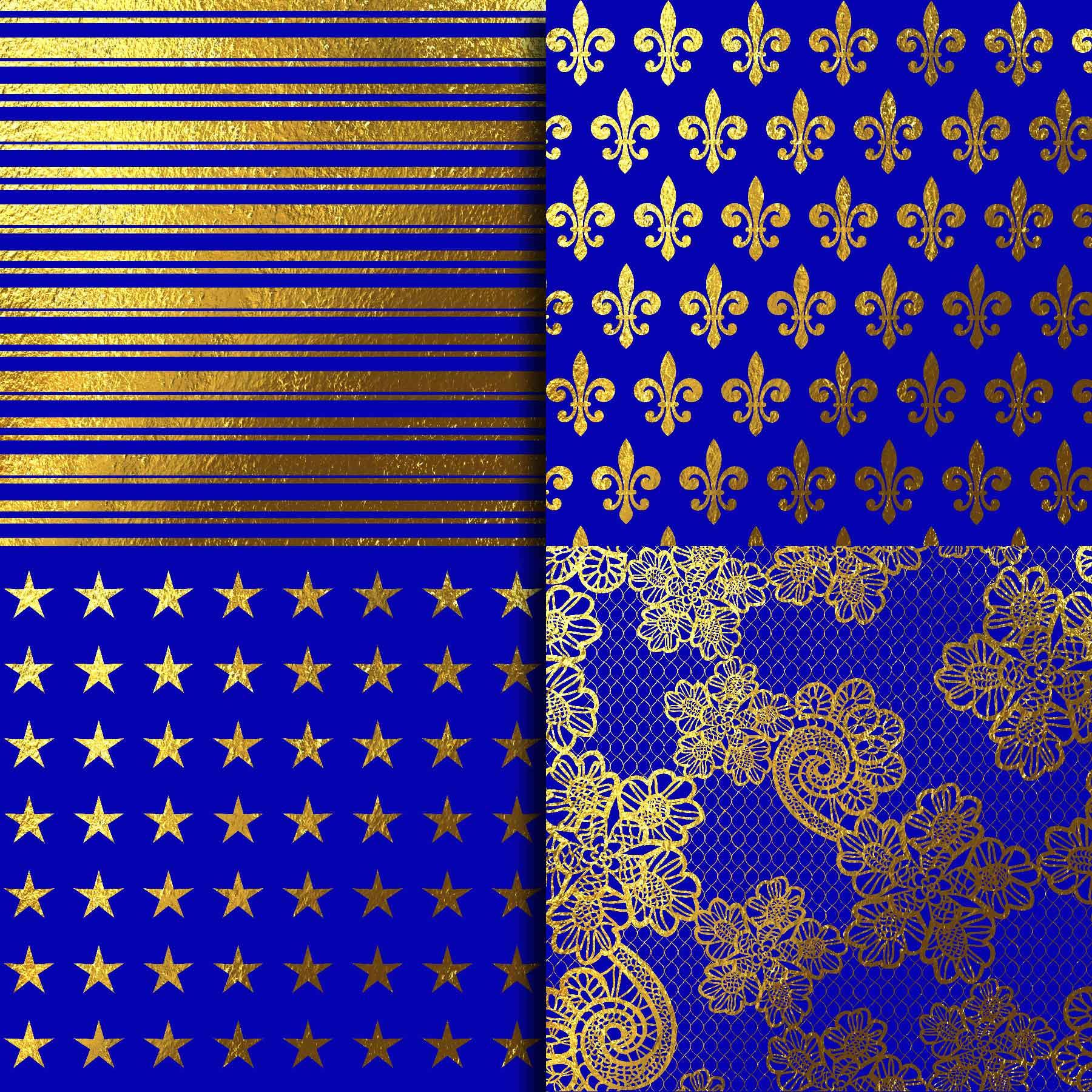 Royal Blue & Gold Foil Digital Paper example image 3
