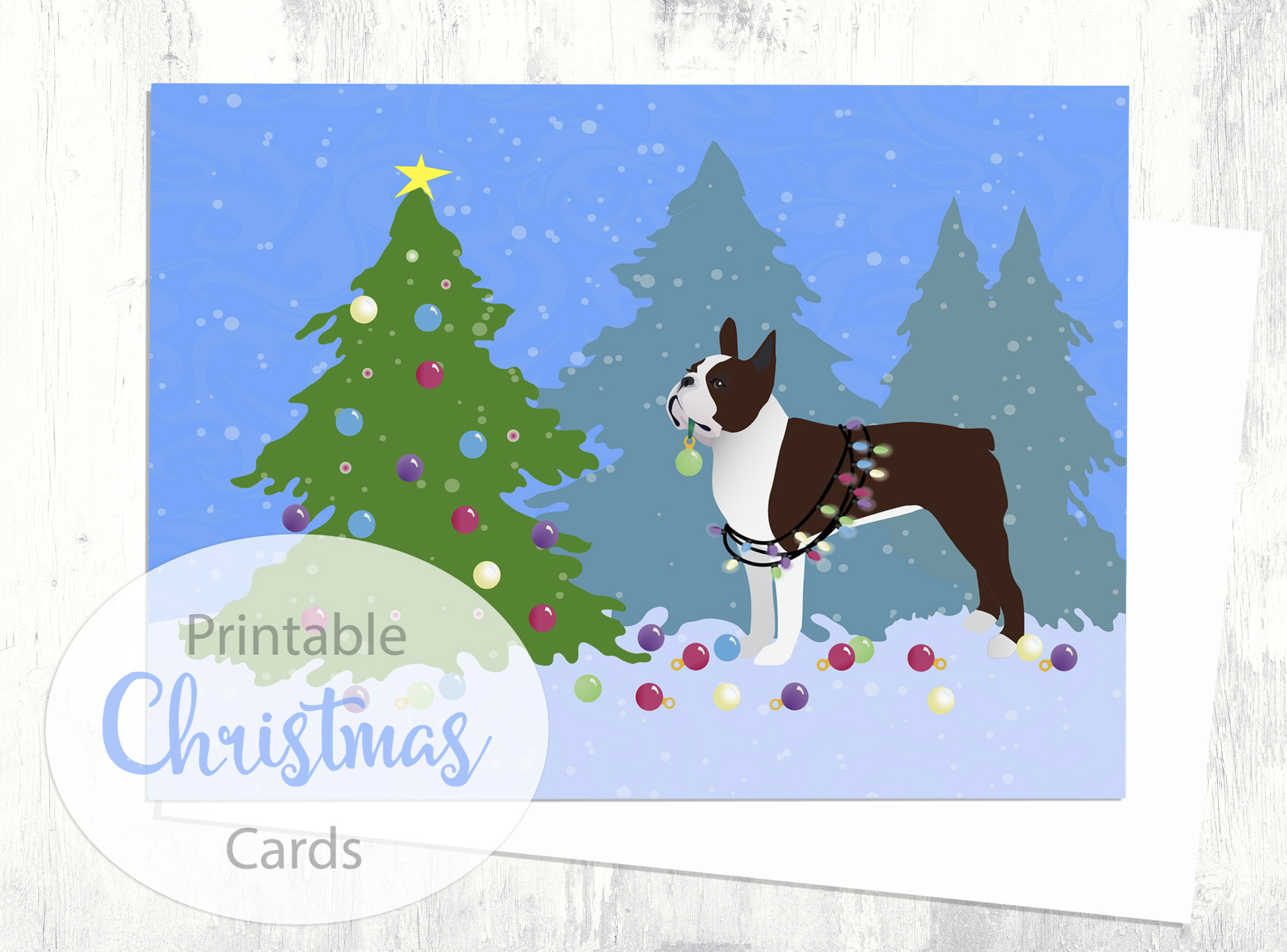 Brown/Liver Boston Terrier Christmas Card - Christmas Forest ...