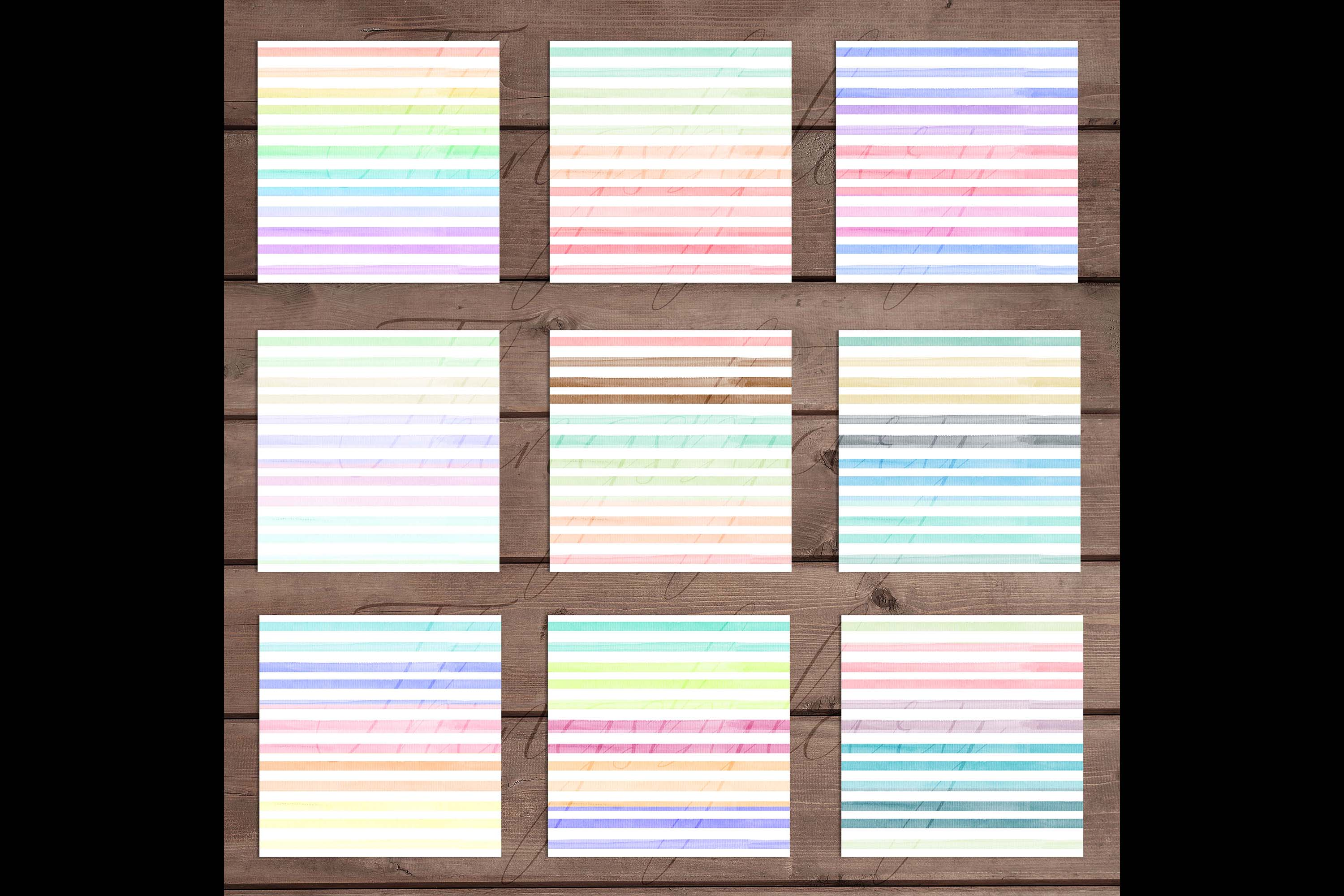 16 Seamless Watercolor Pastel Rainbow Ombre Stripes Papers example image 9