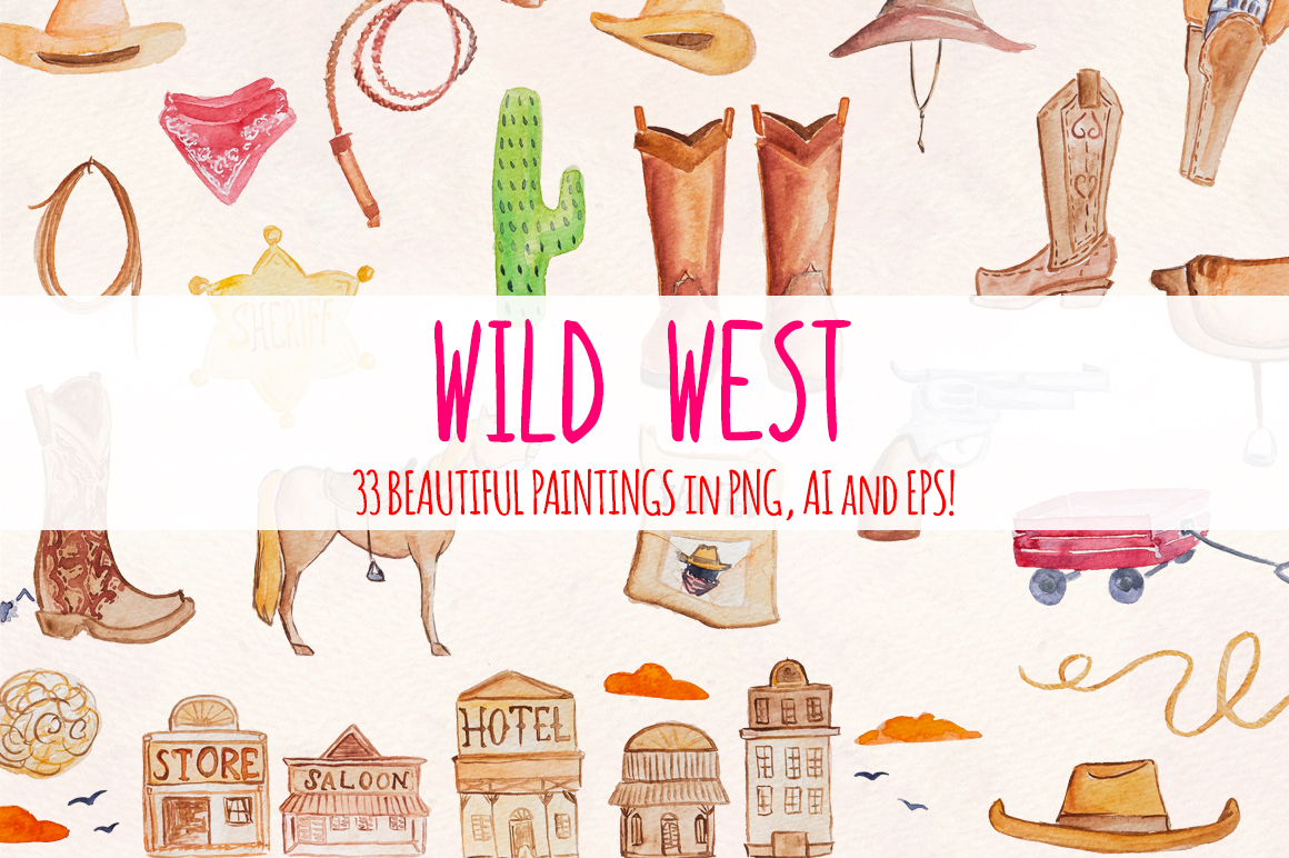 Wild West 33 Cowboy Watercolour Graphics Kit example image 2