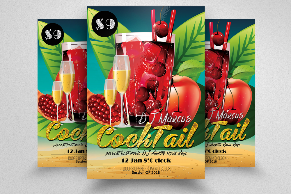 10 Summer Beach Cocktail Party Flyers Bundle example image 5
