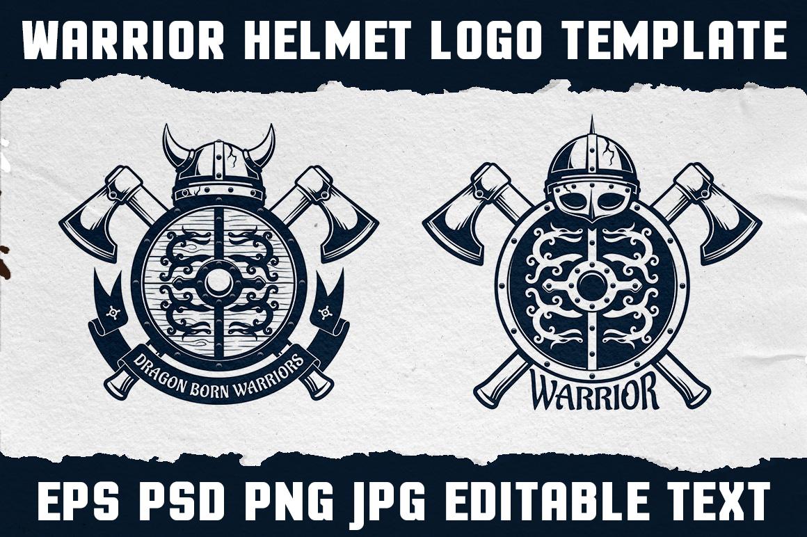 Warrior Viking Helmet Logo Template example image 5