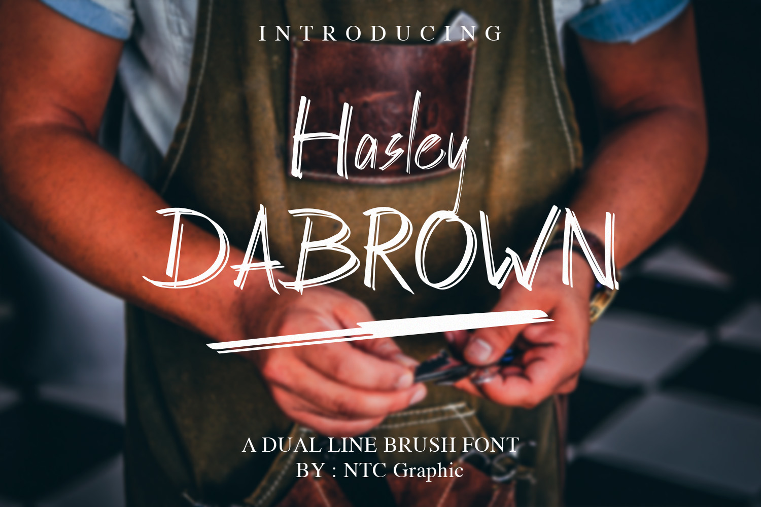 Hasley Dabrown Dual line Handbrush Font example image 1