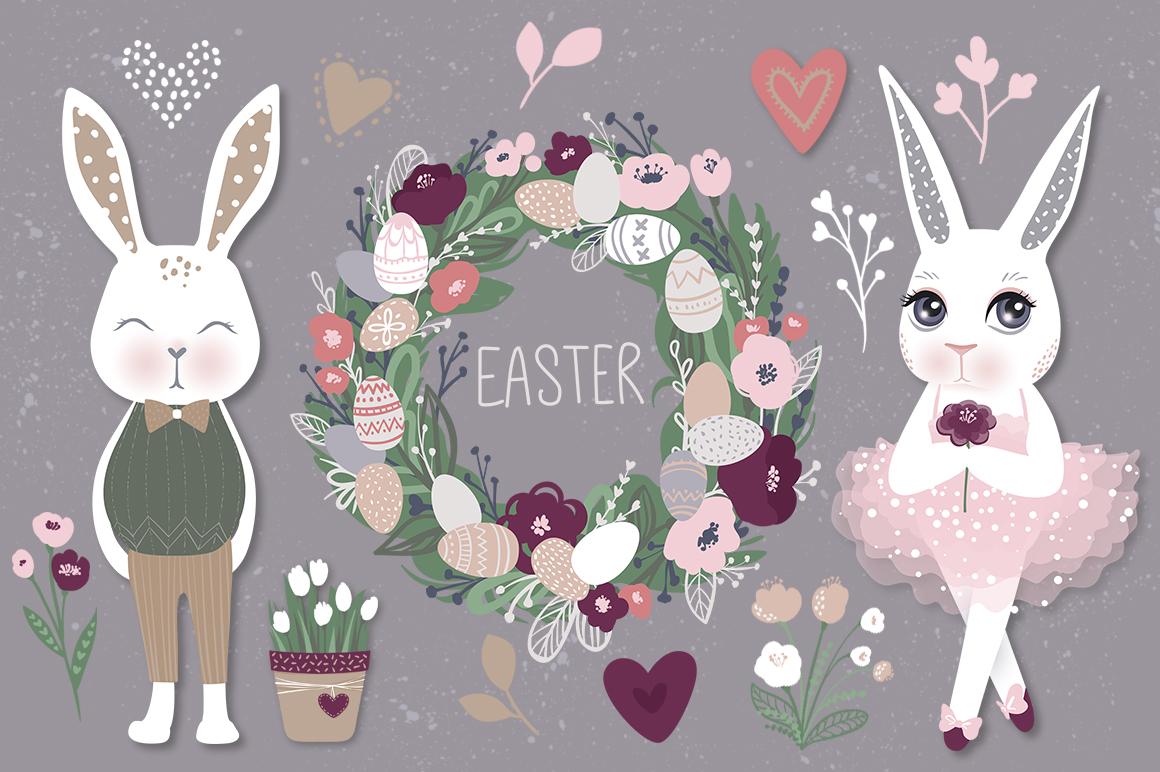Happy Easter. Bunnies, eggs, flowers example image 1