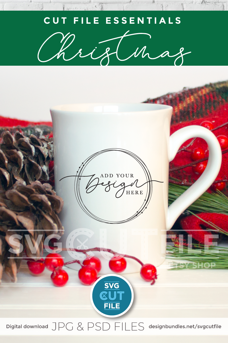 Mockup Coffee Cup, White mug mockup, plaid mock up christmas example image 2