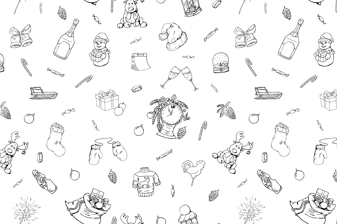 Christmas doodle set + patterns example image 7