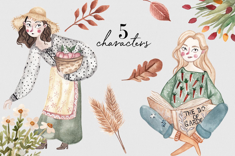 Autumn Garden Watercolor Collection example image 3