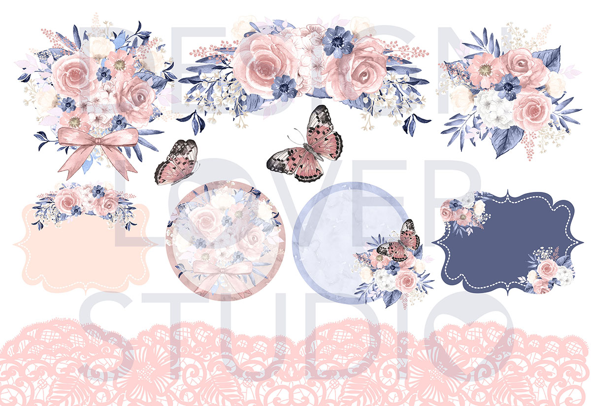 Watercolor BLUE and BLUSH design example image 2