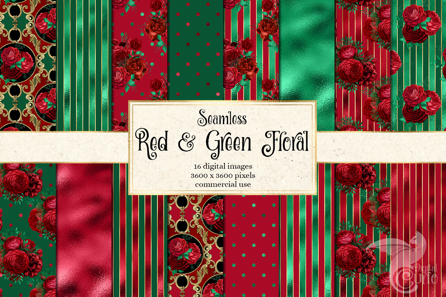 Red and Green Floral Digital Paper example image 1