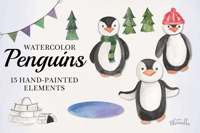 Penguins Watercolor 15 Elements Cute Trees Winter Xmas Fun example image 1