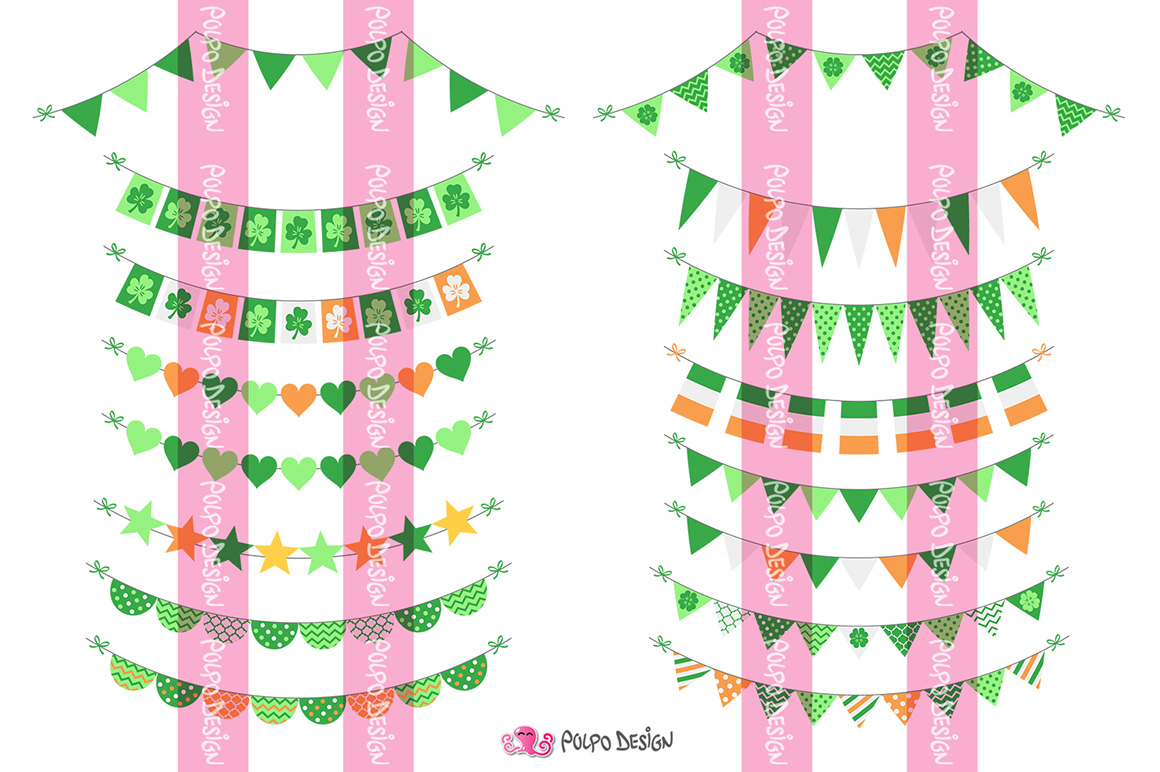 St. Patrick's Day bunting banners clipart example image 3