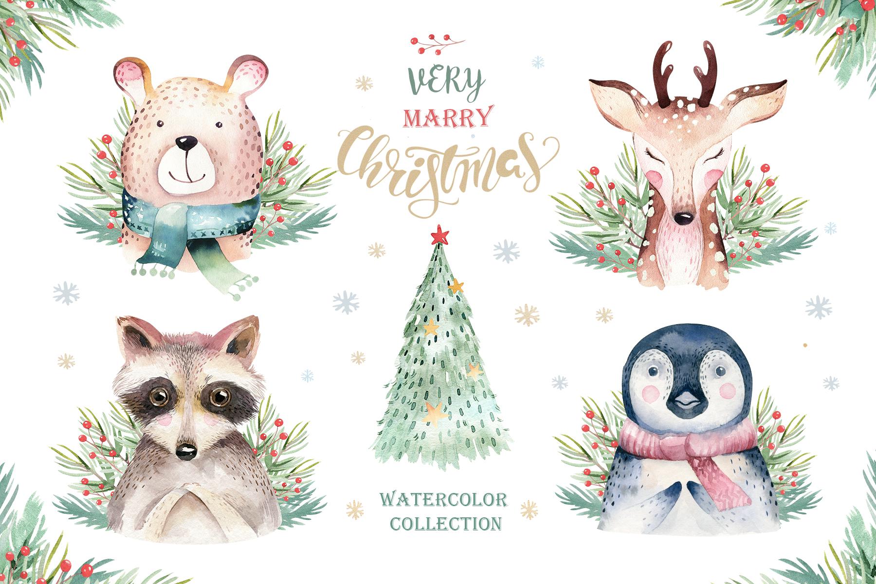 Watercolor Christmas animals raccoon, bear, deer and penguin example image 3