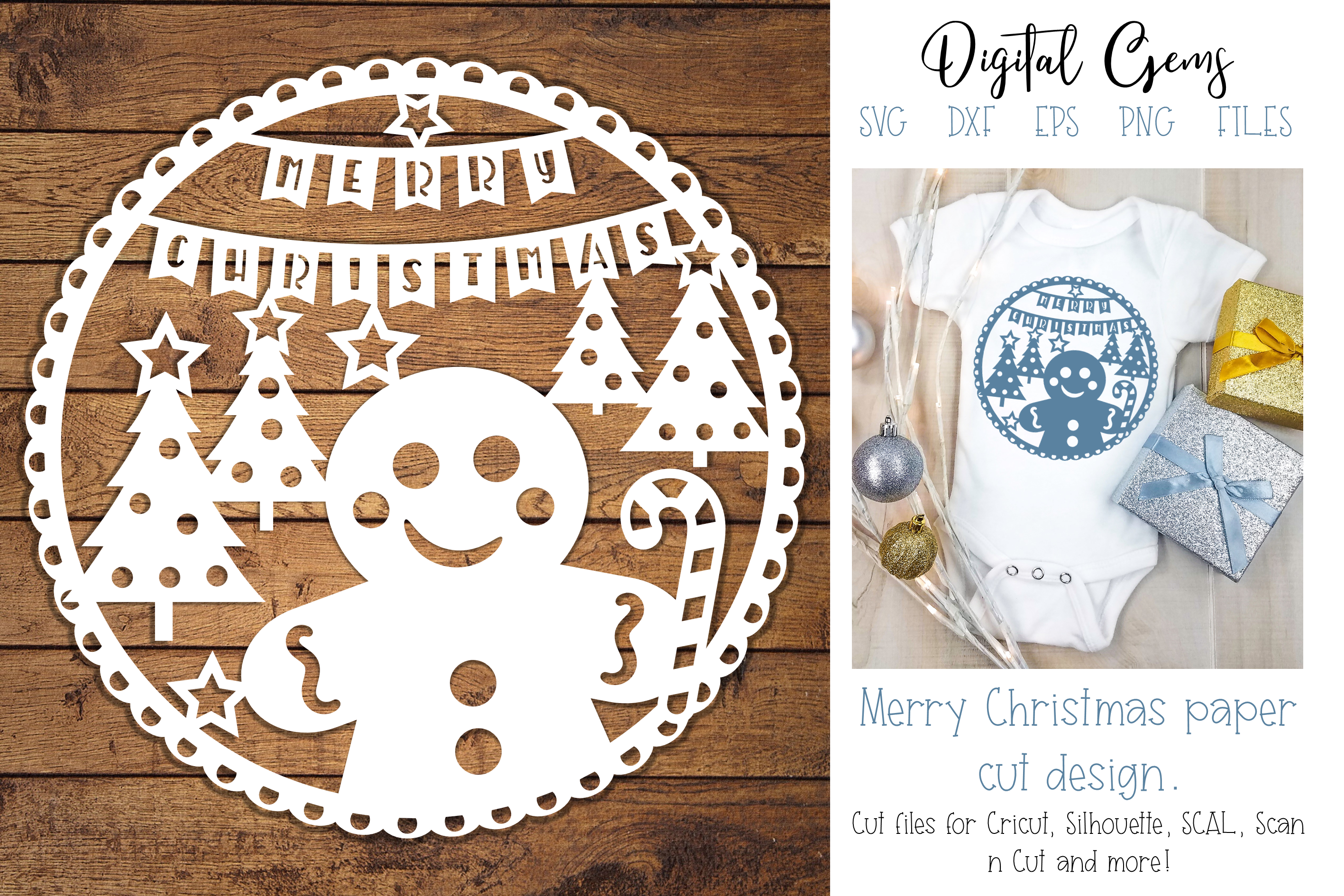 Christmas Gingerbread paper cut design SVG / DXF / EPS files example image 1