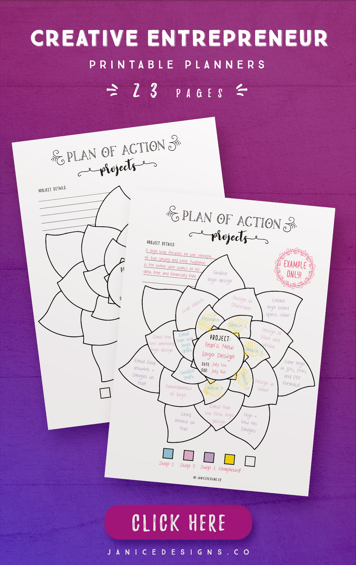 Creative Entrepreneur Printable Planners - 23 Pages example image 3
