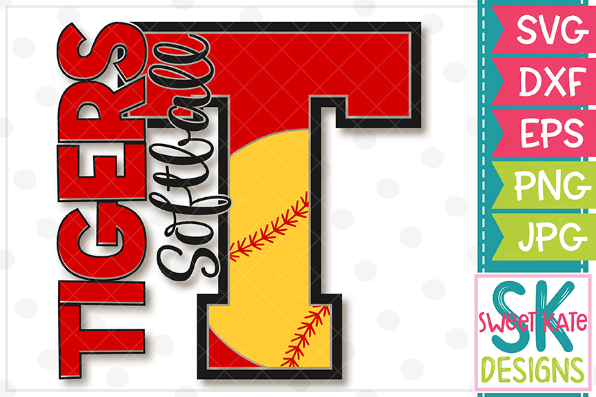 T Tigers Softball SVG DXF EPS PNG JPG example image 2